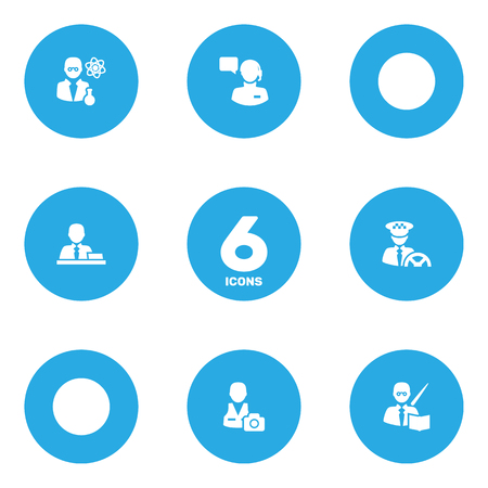 Set Of 6 Position Icons Set.Collection Of Cameraman, Scholarly, Leaner And Other Elements. Illustration