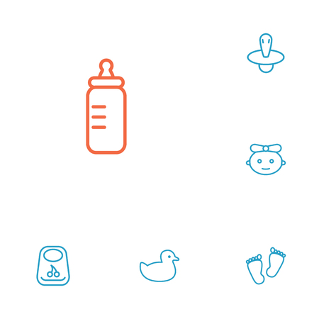 Set Of 6 Kid Outline Icons Set.Collection Of Baby, Rubber, Bib And Other Elements.