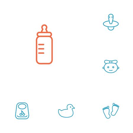 Zestaw 6 dzieci zestaw ikon kontur. Kolekcja dziecka, gumy, Bib i inne elementy.