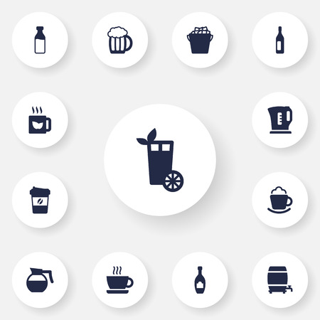 ferment: Set Of 13 Beverages Icons Set.Collection Of Green Tea, Mug, Cask And Other Elements.
