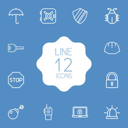 keywords: Collection Of Open, No Entry, Walkie-Talkie And Other Elements.  Set Of 12 Safety Outline Icons Set. Illustration