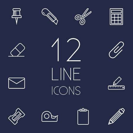 sellotape: Collection Of Calculator, Pushpin, Pencil And Other Elements.  Set Of 12 Stationery Outline Icons Set.