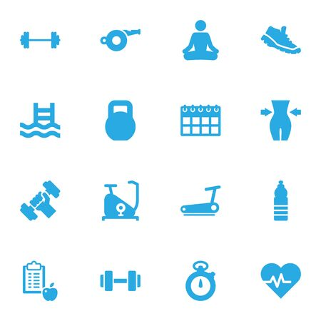checklist: Collection Of Drink, Timer, Bodybuilding And Other Elements.  Set Of 16 Bodybuilding Icons Set.