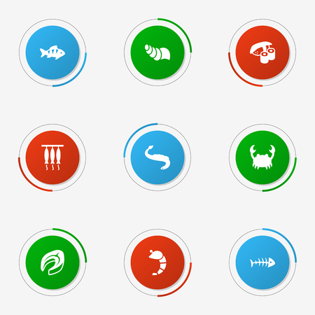 Collection Of Beefsteak, Remains, Japanese Roll And Other Elements.  Set Of 9 Food Icons Set.