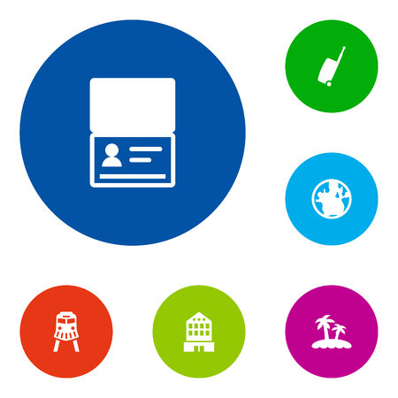 Collection Of Tram, Baggage, Citizenship And Other Elements. Set Of 6 Relax Icons Set.