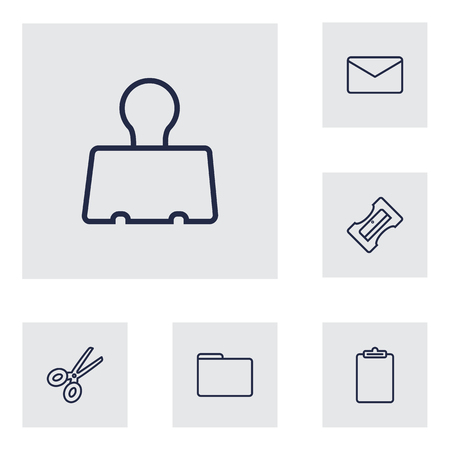 stapled: Collection Of Portfolio, Scissors, Mail And Other Elements.  Set Of 6 Stationery Outline Icons Set.