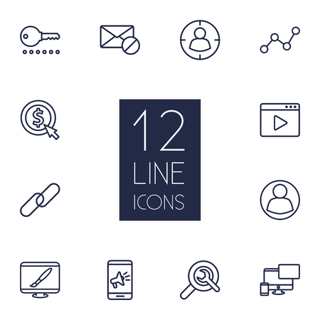 Collection Of Web Design, Block, Targeting And Other Elements.  Set Of 12 Optimization Outline Icons Set.
