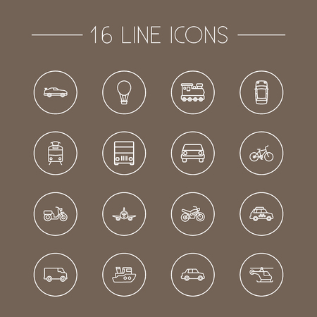 freight train: Collection Of Taxi, Lorry, Helicopter And Other Elements.  Set Of 16 Shipping Outline Icons Set.