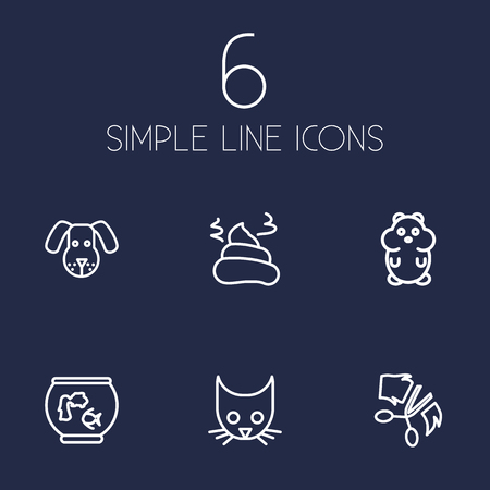 Collection Of Head, Dog, Grooming And Other Elements.  Set Of 6 Mammal Outline Icons Set.