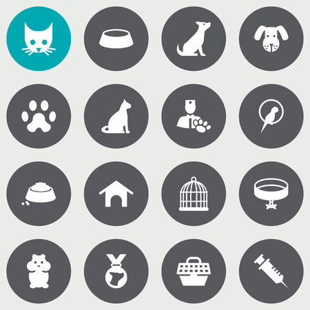 Collection Of Bird, Sitting, Dog And Other Elements.  Set Of 16 Pets Icons Set.