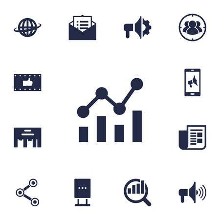 brand monitoring: Collection Of Market, Journal, Group And Other Elements.  Set Of 13 Trade Icons Set. Illustration
