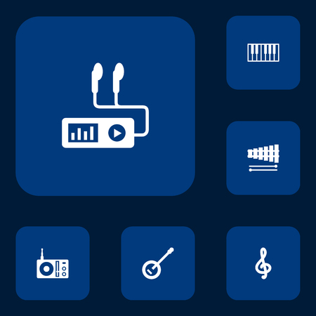 bracket: Set Of 6 Melody Icons Set.Collection Of Banjo, Quaver, Percussion And Other Elements.