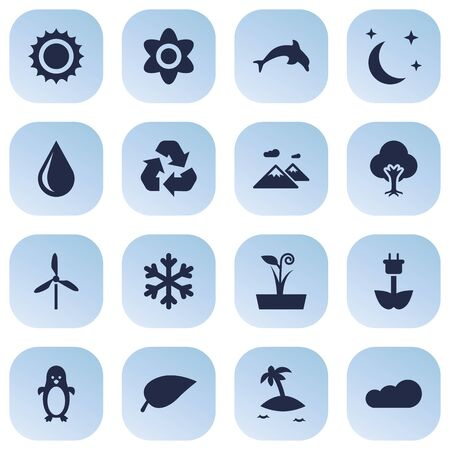 Set Of 16 Nature Icons Set.Collection Of Isle Beach, Midnight, Pinnacle And Other Elements.
