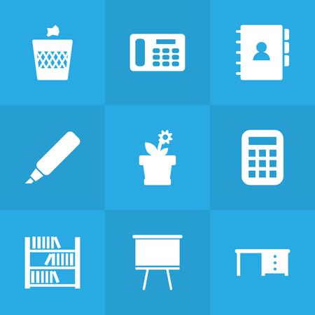 bibliography: Set Of 9 Bureau Icons Set.Collection Of Desktop, Book, Urn And Other Elements. Illustration