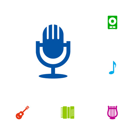 Set Of 6 Song Icons Set.Collection Of Lyre, Tone Symbol, Amplifier And Other Elements. Illustration