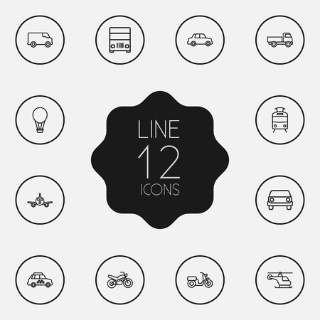 tramcar: Set Of 12 Traffic Outline Icons Set.Collection Of Airplane, Motorcycle, Lorry And Other Elements. Illustration