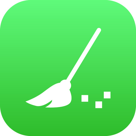 sweeper: Isolated Broom Icon Symbol On Clean Background. Vector Besom Element In Trendy Style. Illustration