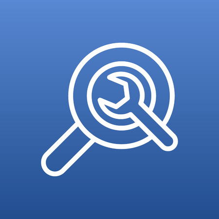 Isolated Search Outline Symbol On Clean Background. Vector Wrench Element In Trendy Style.