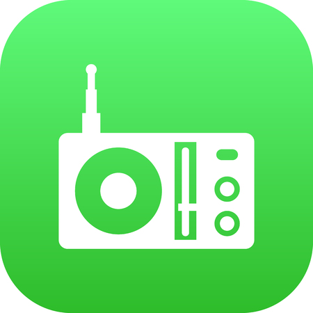 fm: Isolated Retro Tuner Icon Symbol On Clean Background. Vector Radio Element In Trendy Style.