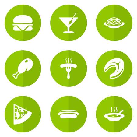 supper: Set Of 9 Eat Icons Set.Collection Of Seafood, Burger, Spaghetti And Other Elements.