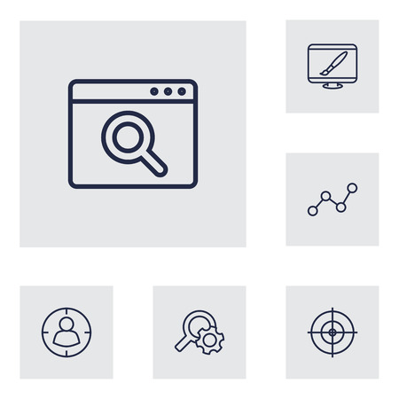Collection Of Web Design, Item Identifier, Scan And Other Elements.  Set Of 6 Engine Outline Icons Set. Illustration
