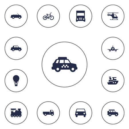 velocipede: Collection Of Hatchback, Wagon, Copter And Other Elements.  Set Of 13 Traffic Icons Set.