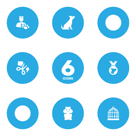 Collection Of Dog, Scissor, Birdcage And Other Elements.  Set Of 6 Pets Icons Set.