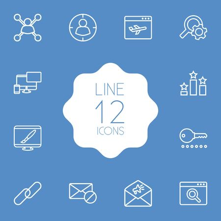 Collection Of Url, Block, Application Analytics And Other Elements.  Set Of 12 Optimization Outline Icons Set.