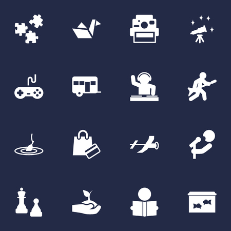 Collection Of Fish, Plant, Rod And Other Elements.  Set Of 16 Entertainment Icons Set. Illustration