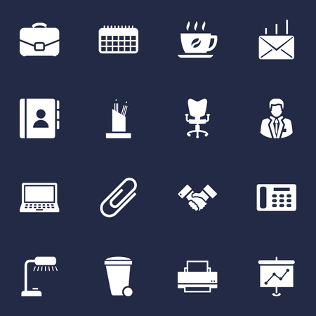 Collection Of Pencil Stand, Printer, Calendar Elements.  Set Of 16 Bureau Icons Set. Ilustrace