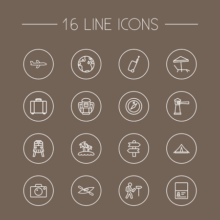 Collection Of Suitcase, Direction, Boat And Other Elements.  Set Of 16 Journey Outline Icons Set.