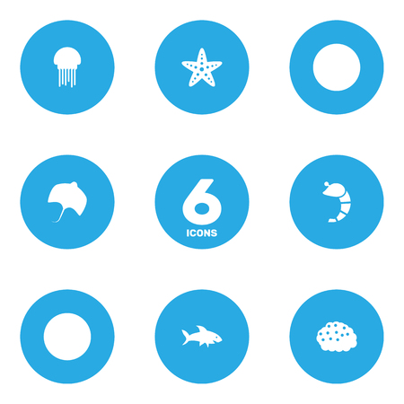 Set Of 6 Food Icons Set.Collection Of Asteroid, Shark, Crustaceans And Other Elements.