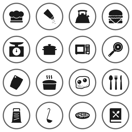 rasp: Set Of 16 Cooking Icons Set.Collection Of Loaf, Kitchen Rasp, Saucepan And Other Elements.