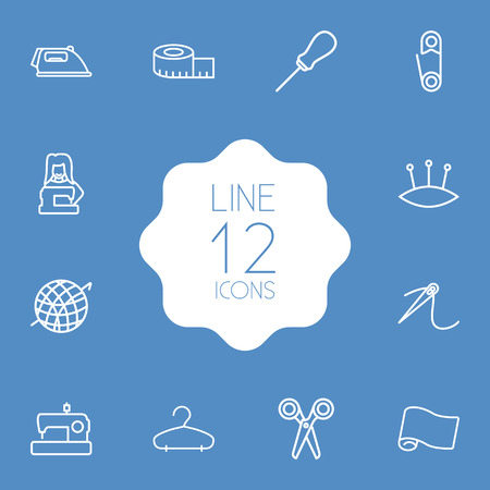 Set Of 12 Stitch Outline Icons Set.Collection Of Needle, Fabric, Crochet And Other Elements.