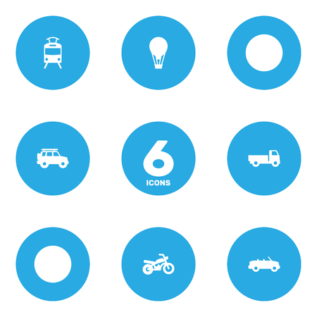 Set Of 6 Transport Icons Set.Collection Of Lorry, Hatchback, Motorbike And Other Elements.