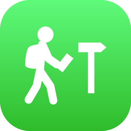 Símbolo aislado del icono turístico en fondo limpio. Vector Traveler Element In Trendy Style. Foto de archivo - 83338071
