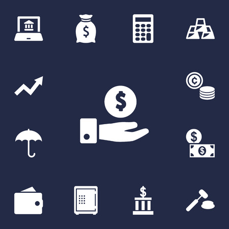 Set Of 13 Finance Icons Set.Collection Of Calculate, Money, Grown And Other Elements. Иллюстрация