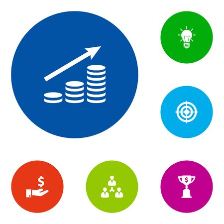 Set Of 6 Startup Icons Set.Collection Of Unity, Goblet, Goal And Other Elements.