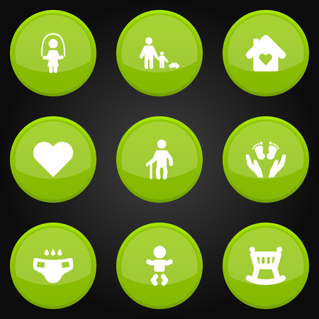Set Of 9 People Icons Set.Collection Of Kid, Grandpa, Cot Elements. Illustration