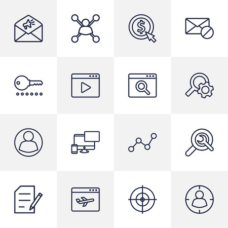 Set Of 16 Optimization Outline Icons Set.Collection Of Search, Web Design, Video Marketing And Other Elements.
