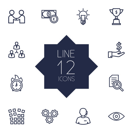 hotline: Set Of 12 Strategy Outline Icons Set.Collection Of Working Process, Idea, Research And Other Elements.