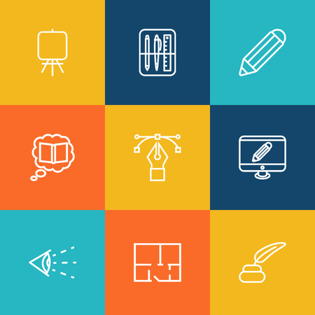 Set Of 9 Constructive Outline Icons Set.Collection Of Property Plan, Drawing Tools, Vision And Other Elements.