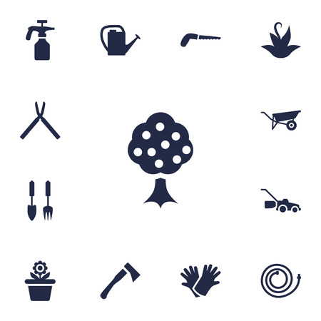 horticultural: Set Of 13 Farm Icons Set.Collection Of Lawn Mower, Spray Bootle, Scissors And Other Elements.