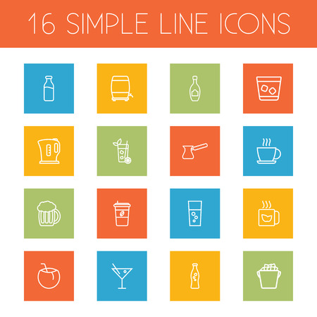 ferment: Set Of 16 Beverages Outline Icons Set.Collection Of Cocktail, Kettle, Ice Bucket And Other Elements. Illustration