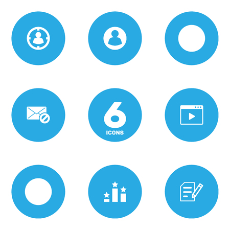 Set Of 6 Search Icons Set.Collection Of Columns, Author Rights, Warning And Other Elements.