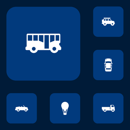 moving truck: Set Of 6 Traffic Icons Set.Collection Of Autobus, Lorry, Coupe And Other Elements. Illustration
