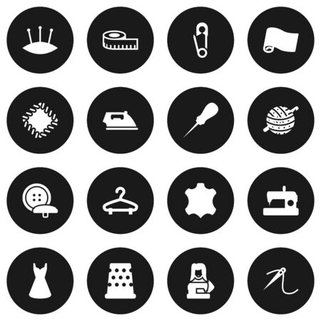 awl: Set Of 16 Tailor Icons Set.Collection Of Seamstress, Eyelet, Machine And Other Elements. Illustration
