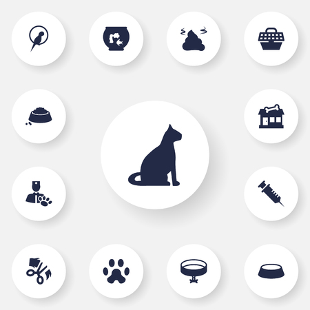 Set Of 13 Pets Icons Set.Collection Of Store, Pile, Dish And Other Elements.