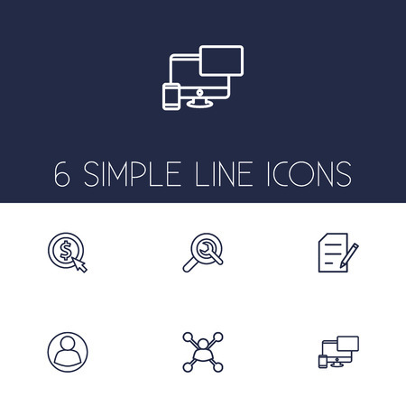 Set Of 6 Optimization Outline Icons Set.Collection Of Wrench, Guest, Copyright And Other Elements.