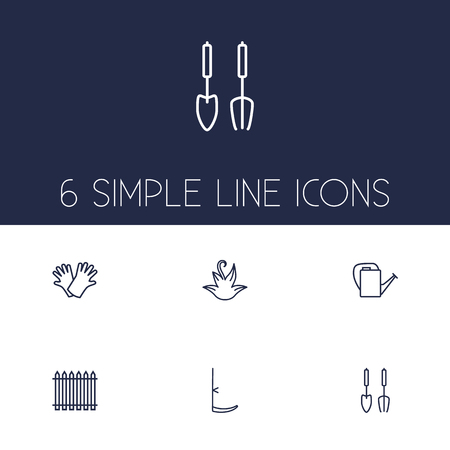 Set Of 6 Farm Outline Icons Set.Collection Of Scythe, Safer Of Hand , Palisade Elements.